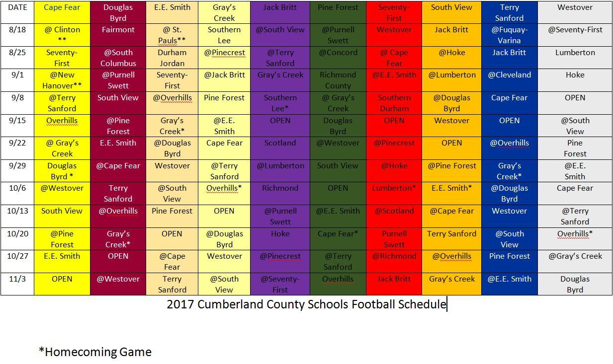 high school highlights schedule up dated 080217