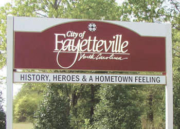 02 City of Fayetteville city limit welcome sign 2014