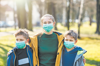 06 mom and kids outside masks